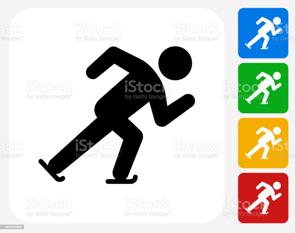 Speed Skating Icon Flat Graphic Design vector art illustration
