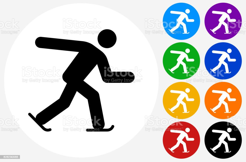 Speed Skating Icon on Flat Color Circle Buttons vector art illustration