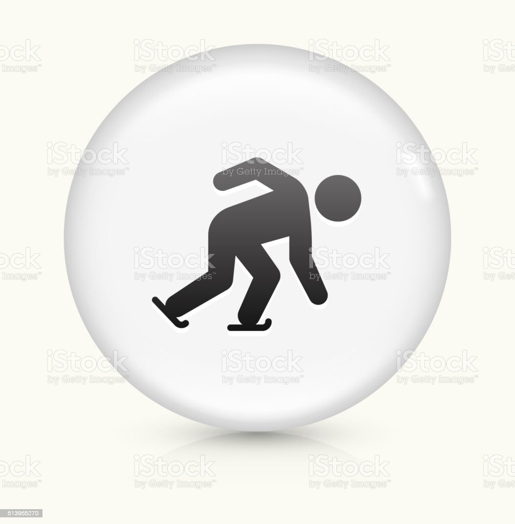 Speed Skating icon on white round vector button vector art illustration