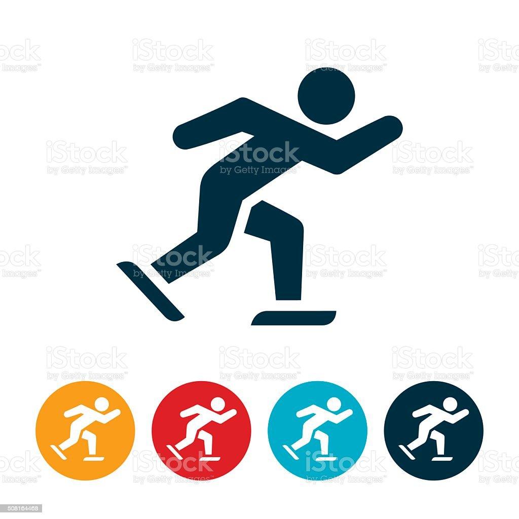 Speed Skating Icon vector art illustration