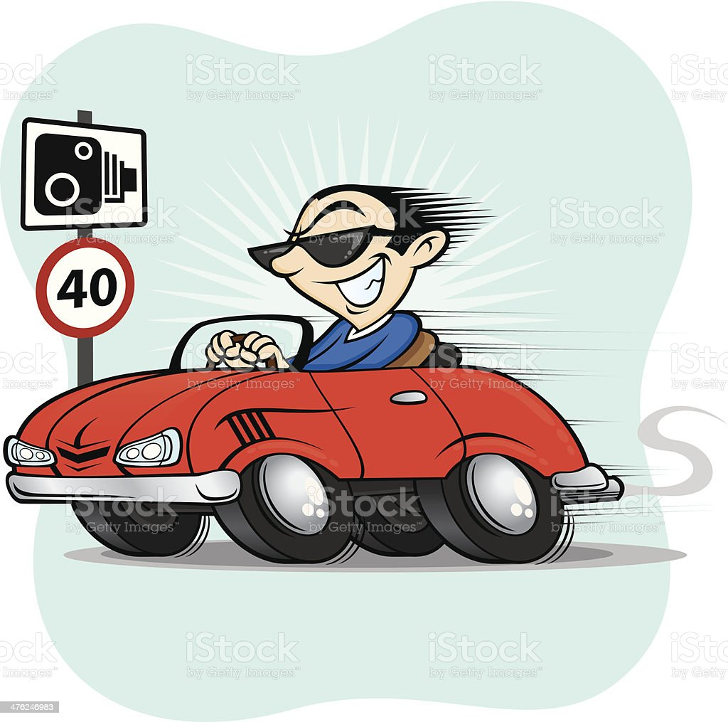 Speeding Convertible Sports Car Driver royalty-free stock vector art