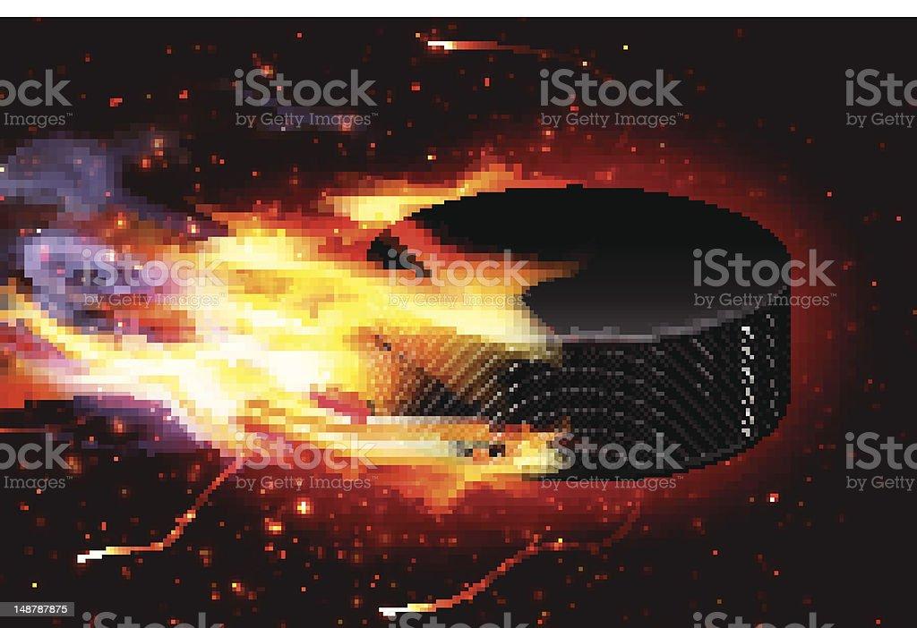 Speeding Hockey Puck On Fire royalty-free stock vector art