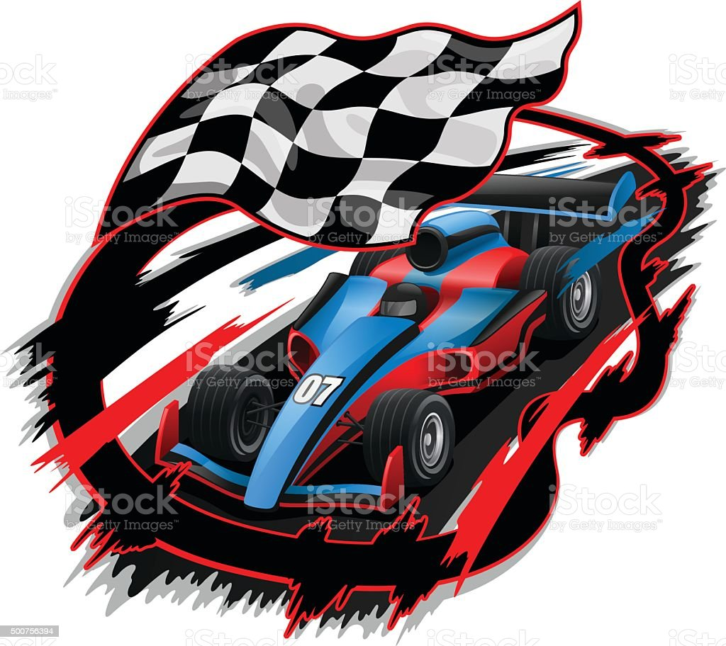 Speeding Racing Car Design vector art illustration