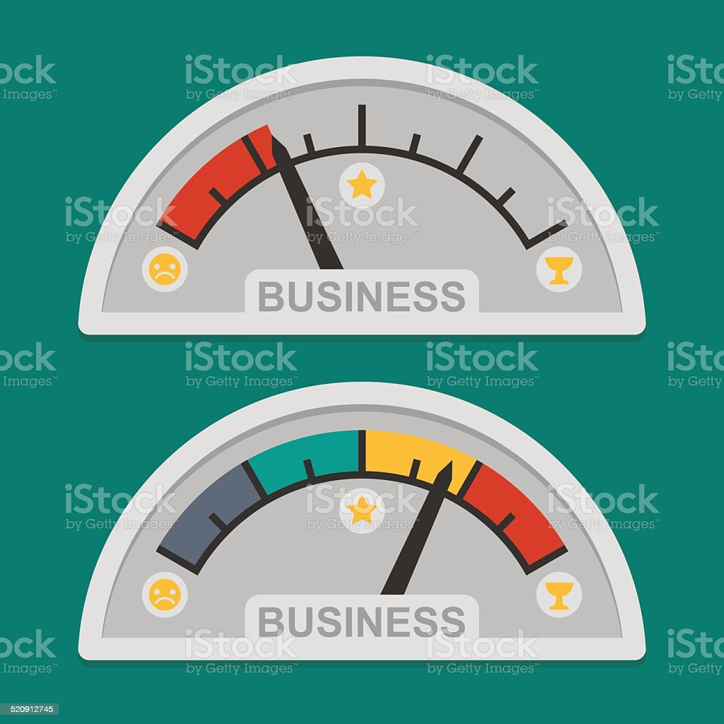 Speedometer business development vector art illustration