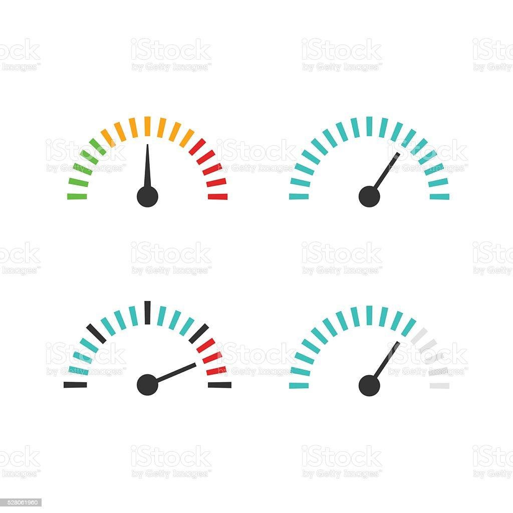 Speedometer icon set vector illustration, speed control measure element vector art illustration
