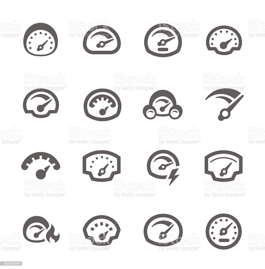Speedometer Icons vector art illustration