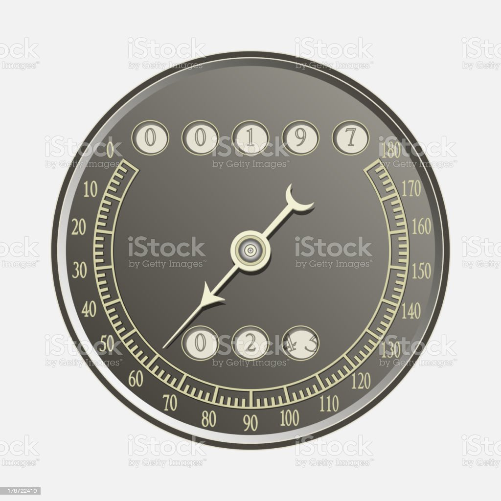 Speedometer in retro style royalty-free stock vector art