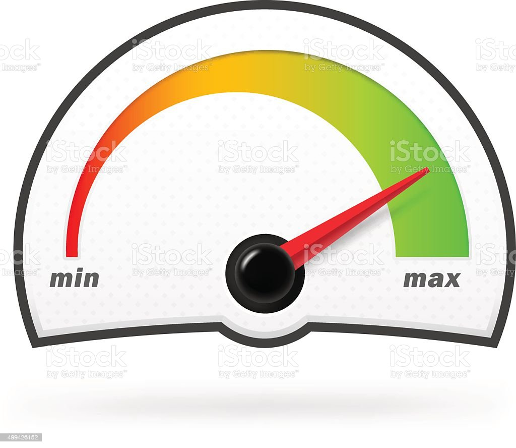 Speedometer on a white background with green progree line. vector art illustration