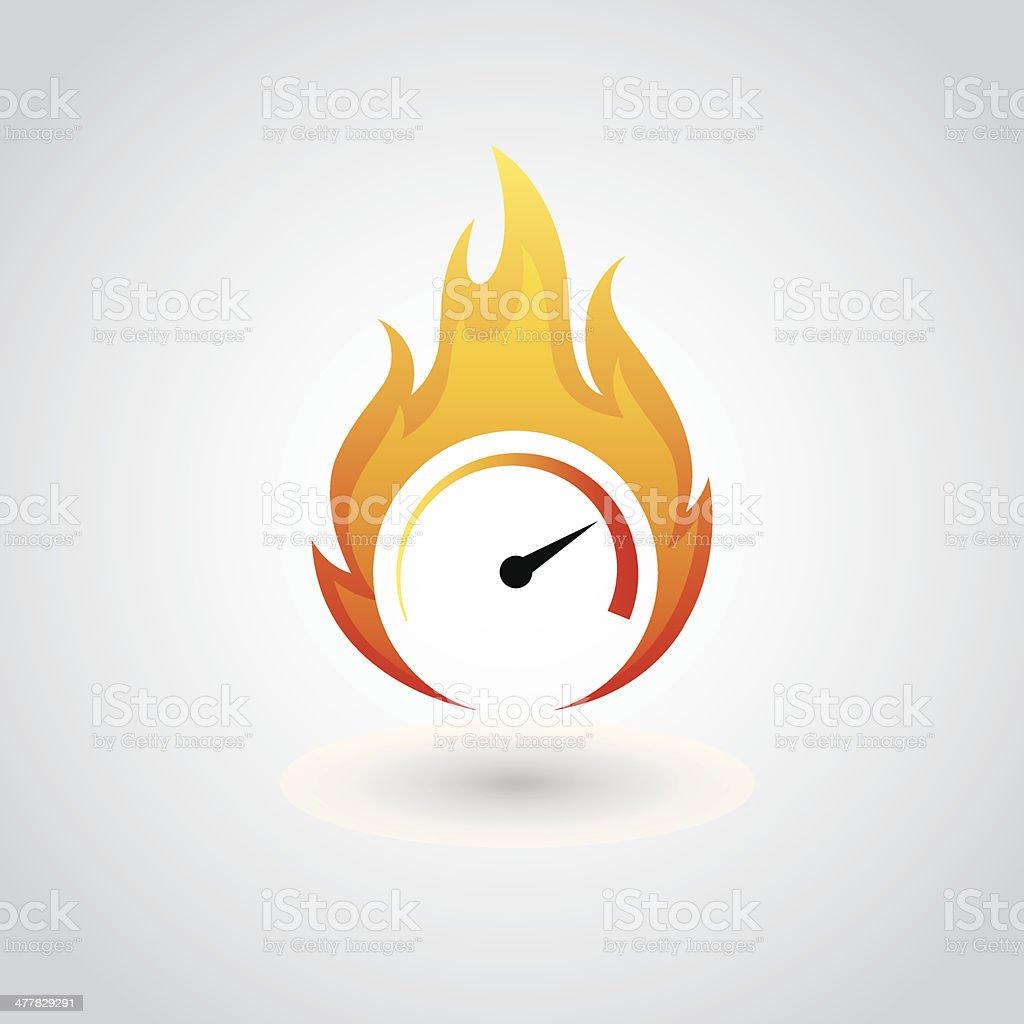 Speedometer on fire vector art illustration