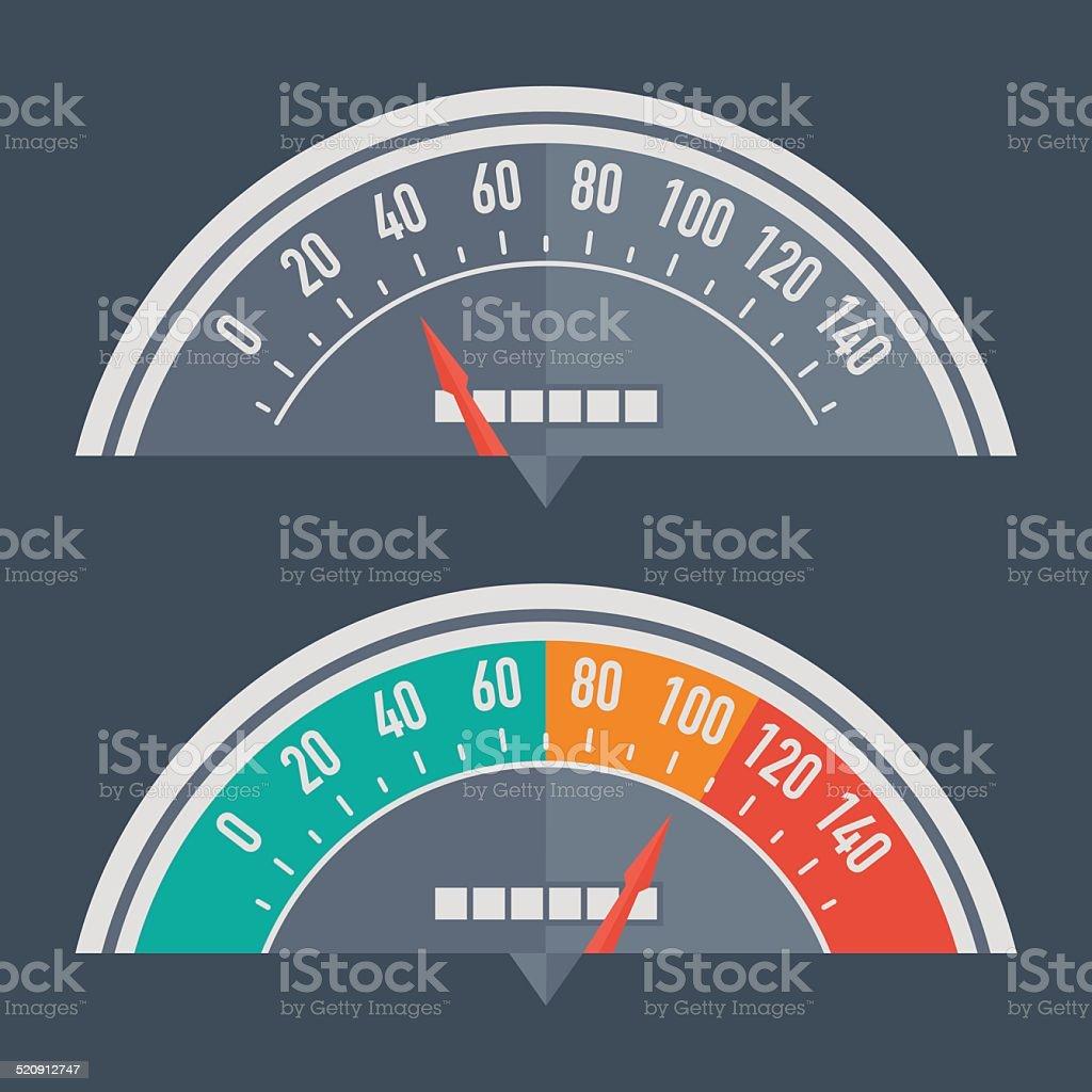 Speedometer retro classic vector art illustration