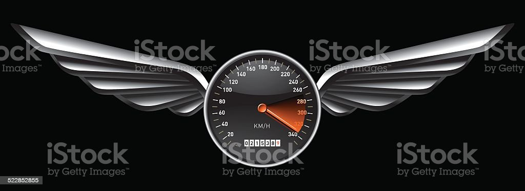 speedometer shield with glossy wings vector art illustration