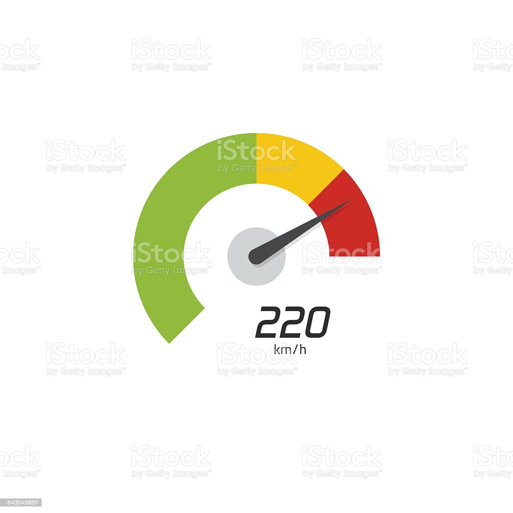 Speedometer vector icon isolated on white background vector art illustration
