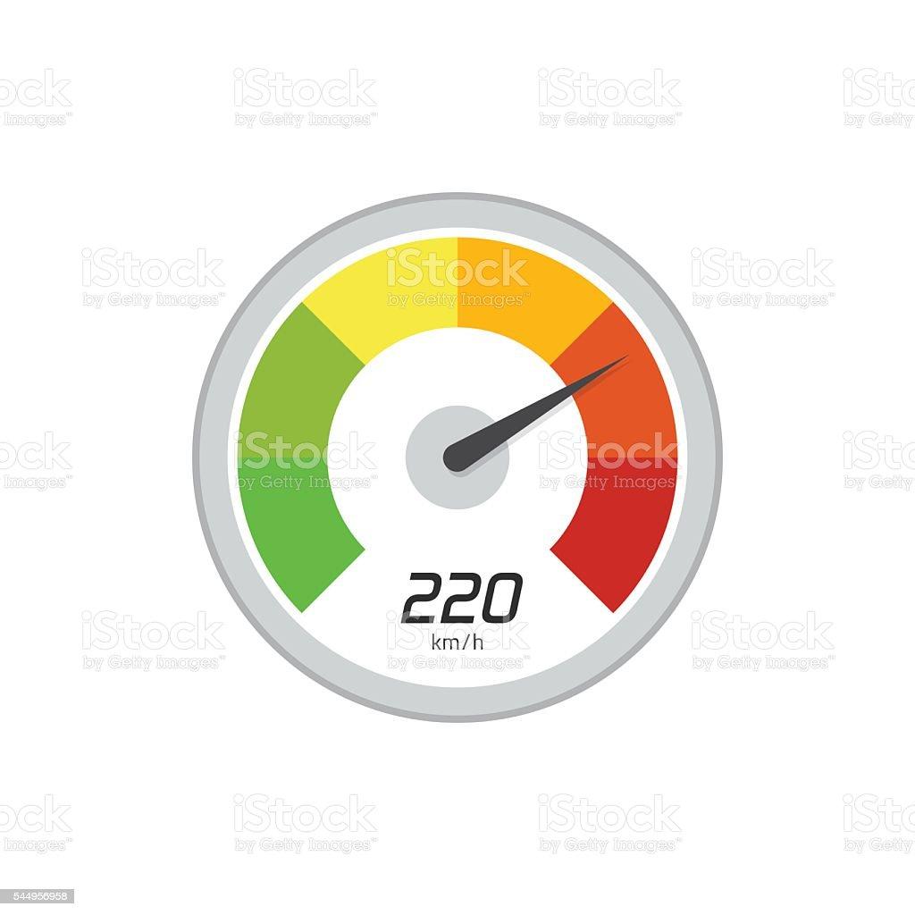 Speedometer vector icon isolated on white background vector art illustration