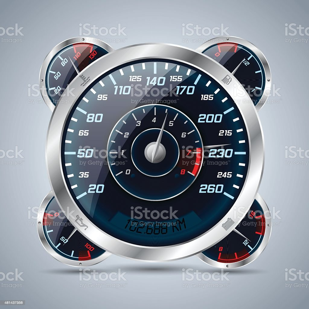 Speedometer with rev counter and other instruments vector art illustration