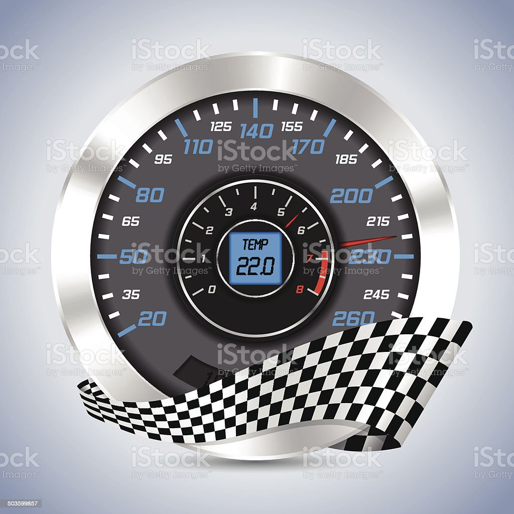 Speedometer with rev counter vector art illustration