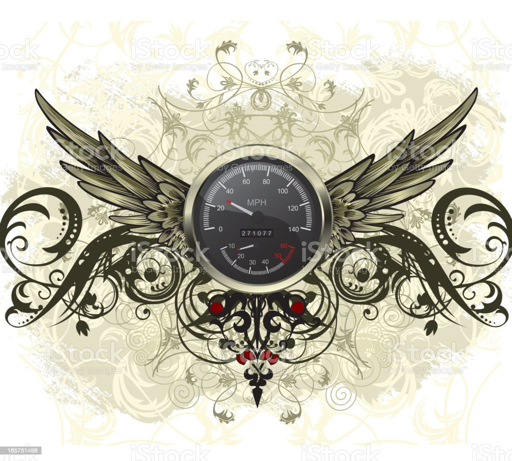 Speedometer with Wings vector art illustration