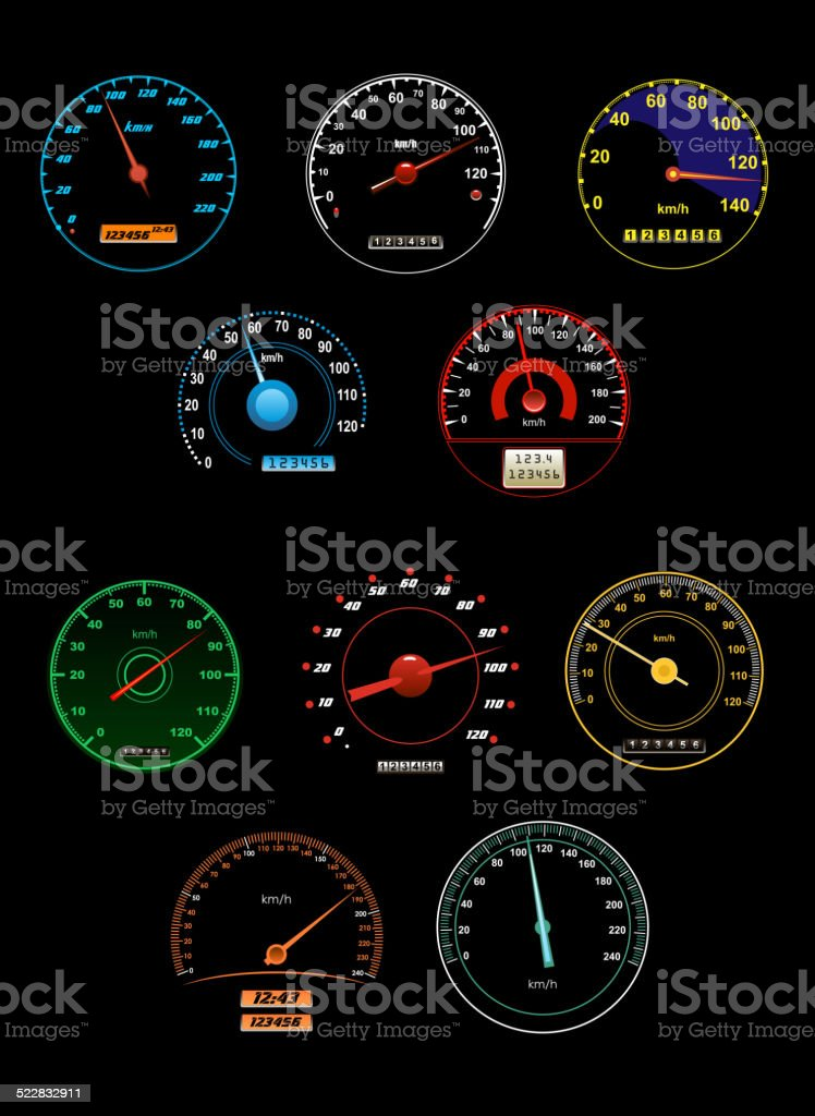 Speedometers set with dials and gauges with needle pointers vector art illustration