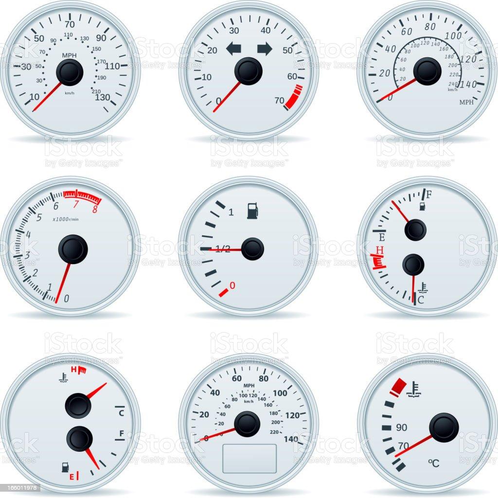 Speedometers vector art illustration