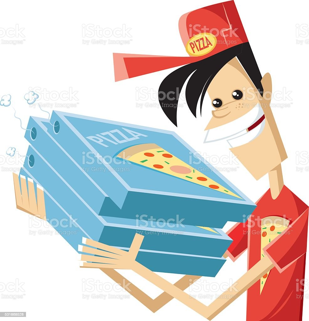 Speedy pizza boy vector art illustration