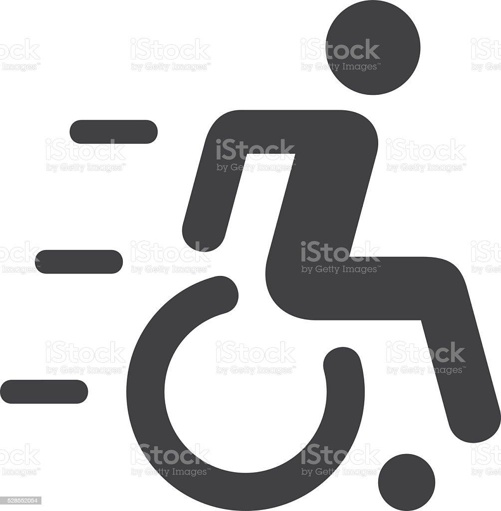 Speedy Wheelchair Sign vector art illustration