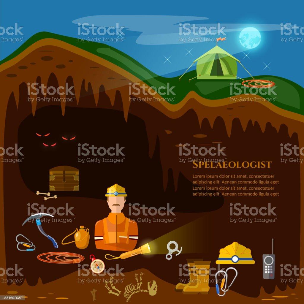 Speleology caves study underground mines vector art illustration