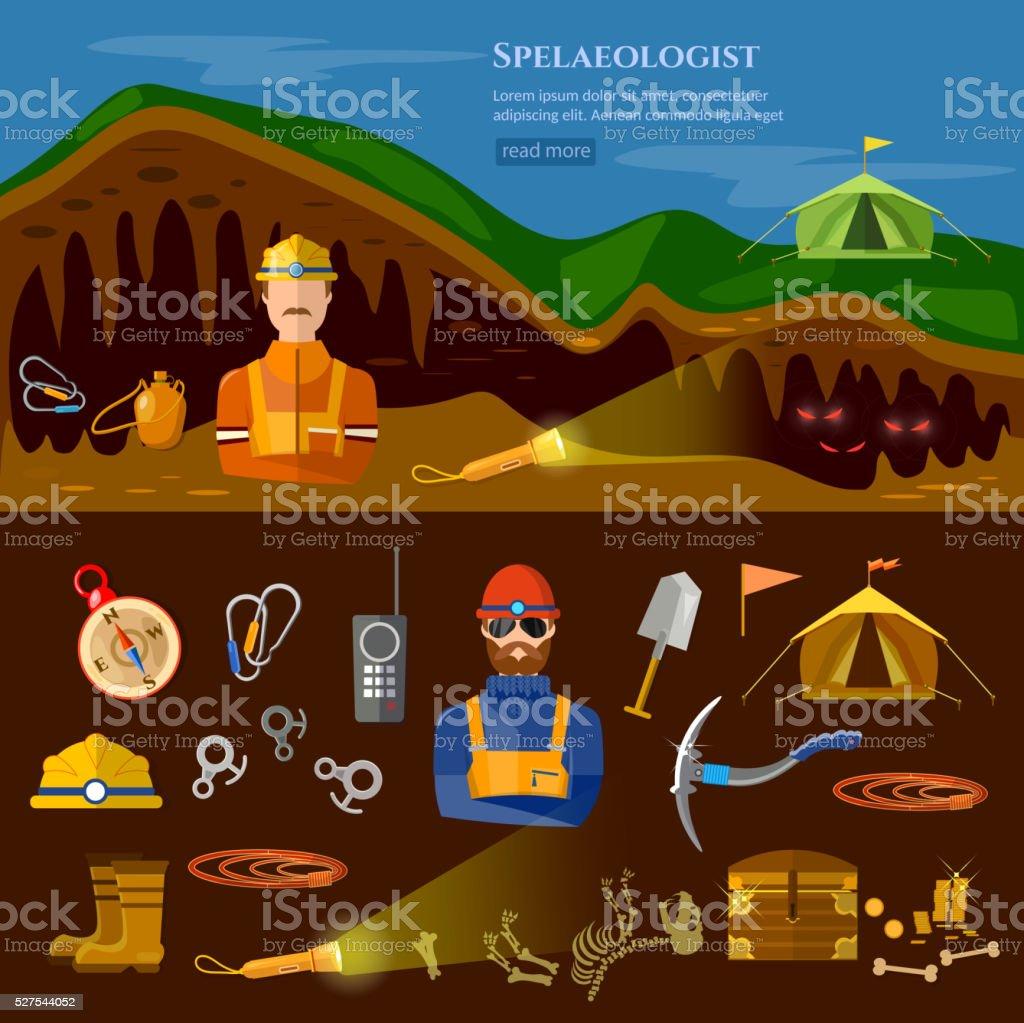Speleology spelunker banners study of underground caves vector art illustration