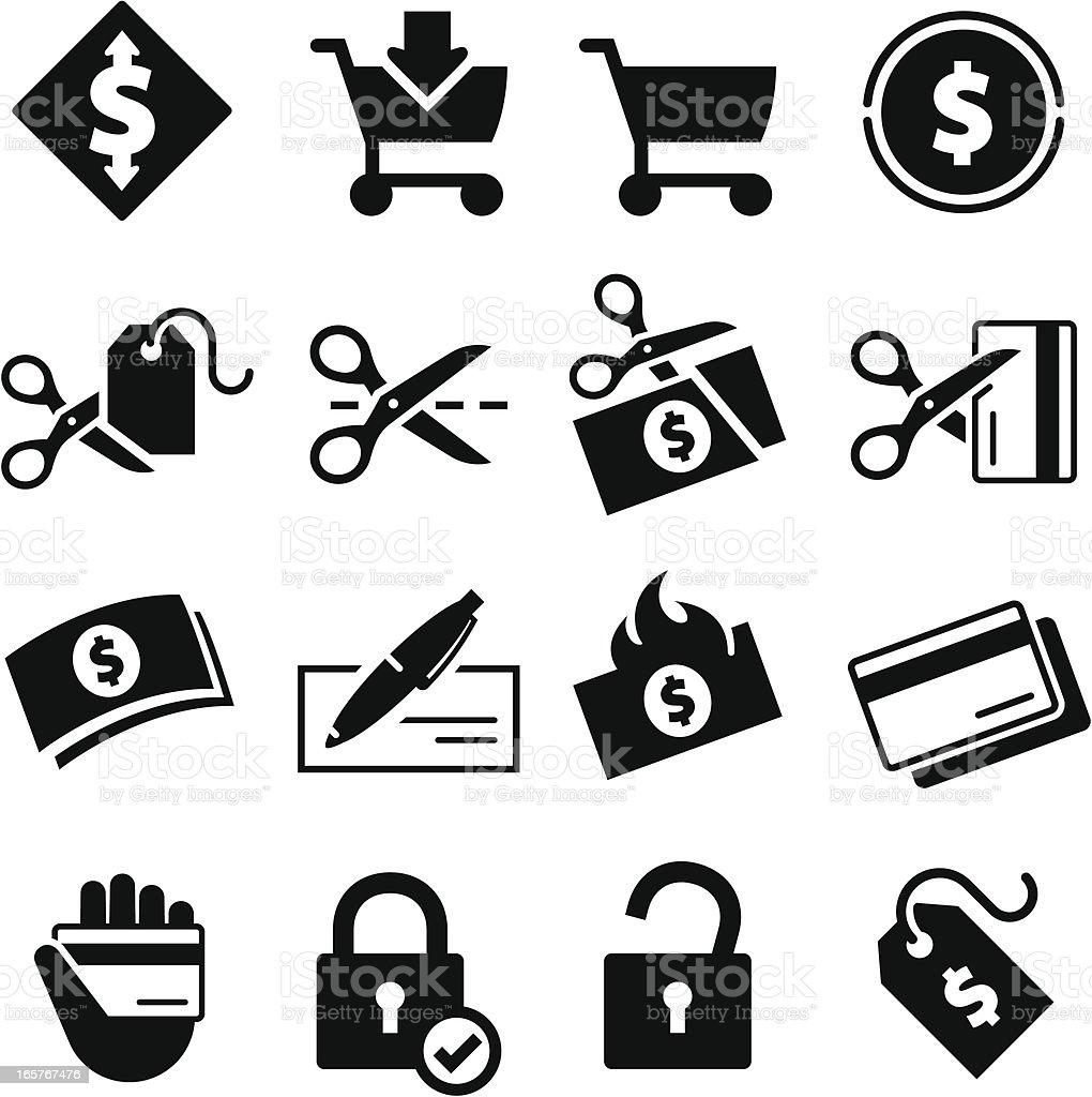 Spending Icons - Black Series vector art illustration