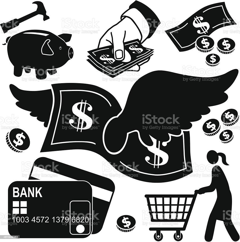 spending money icons royalty-free stock vector art