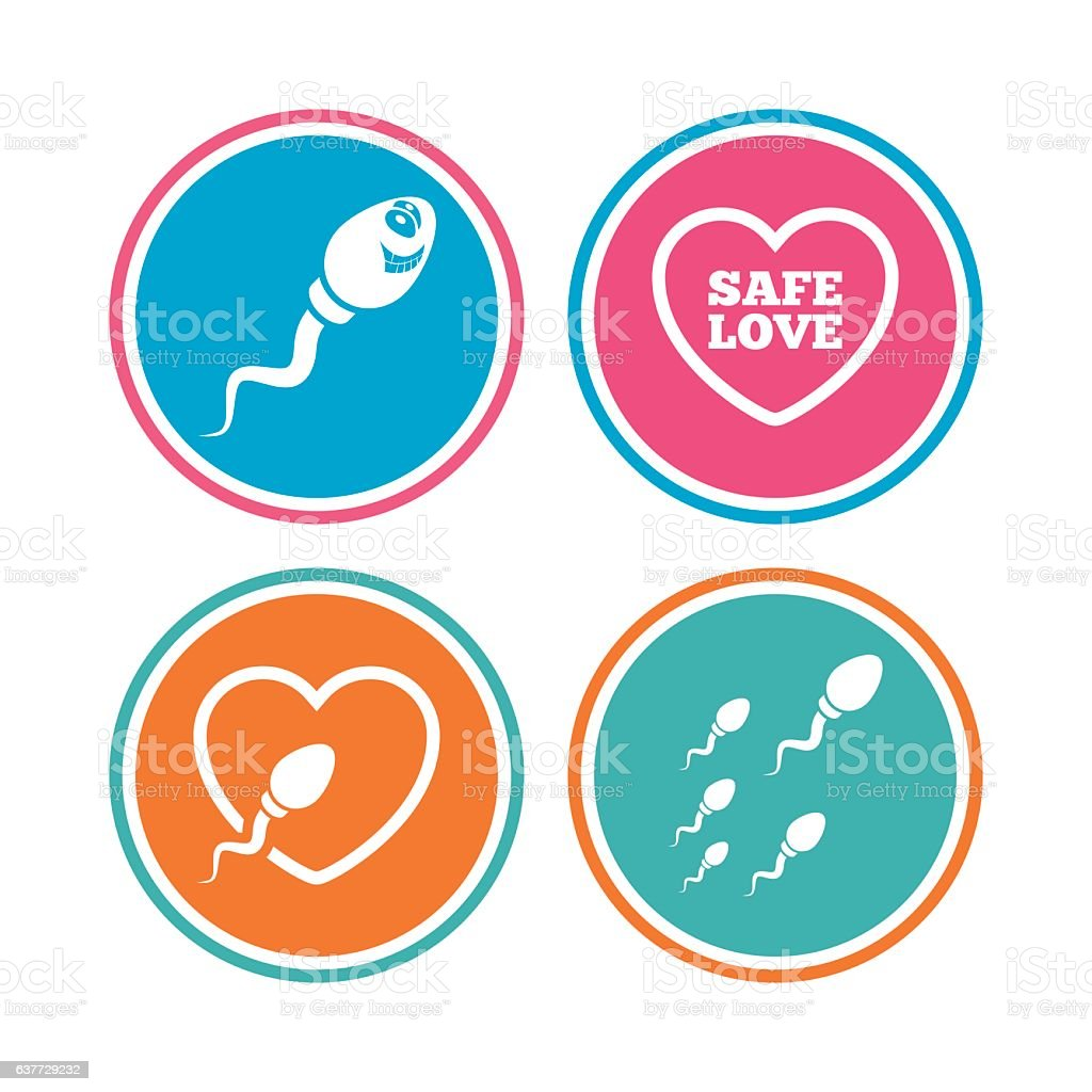 Sperm icons. Fertilization or insemination signs. vector art illustration