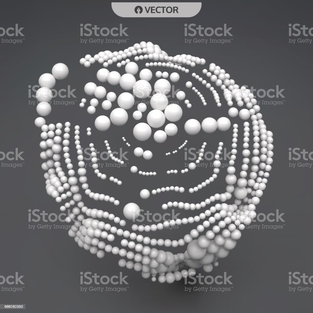 3D sphere composition. Many balls in empty space. Abstract background. Vector illustration. vector art illustration