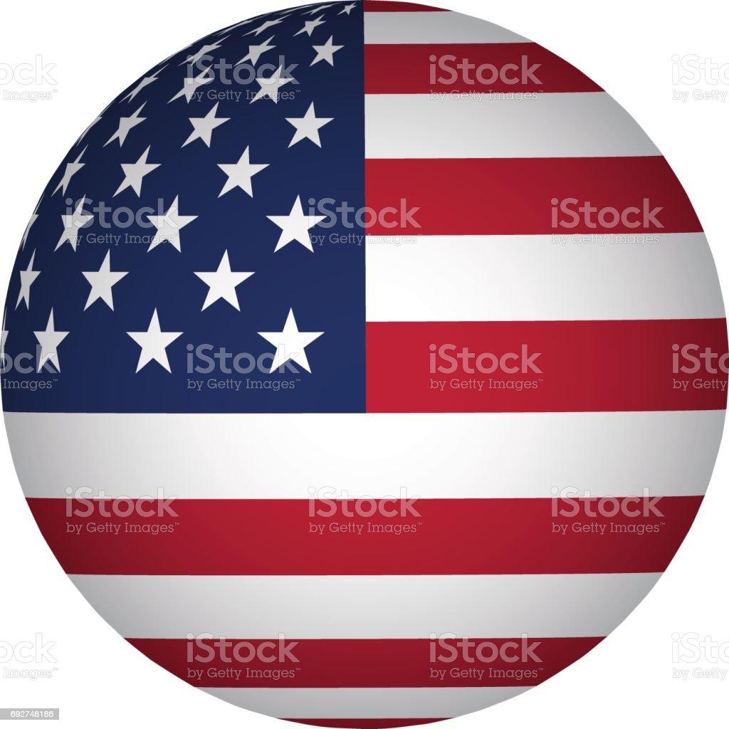 sphere USA flag vector art illustration