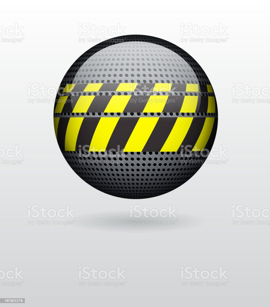 Sphere with metal circular grid royalty-free stock vector art