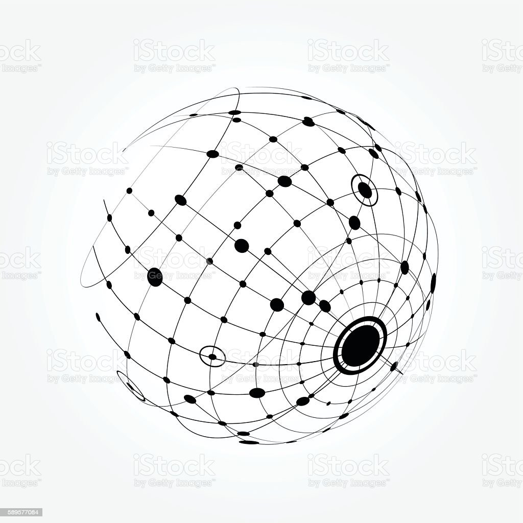 Sphere with nodes vector art illustration