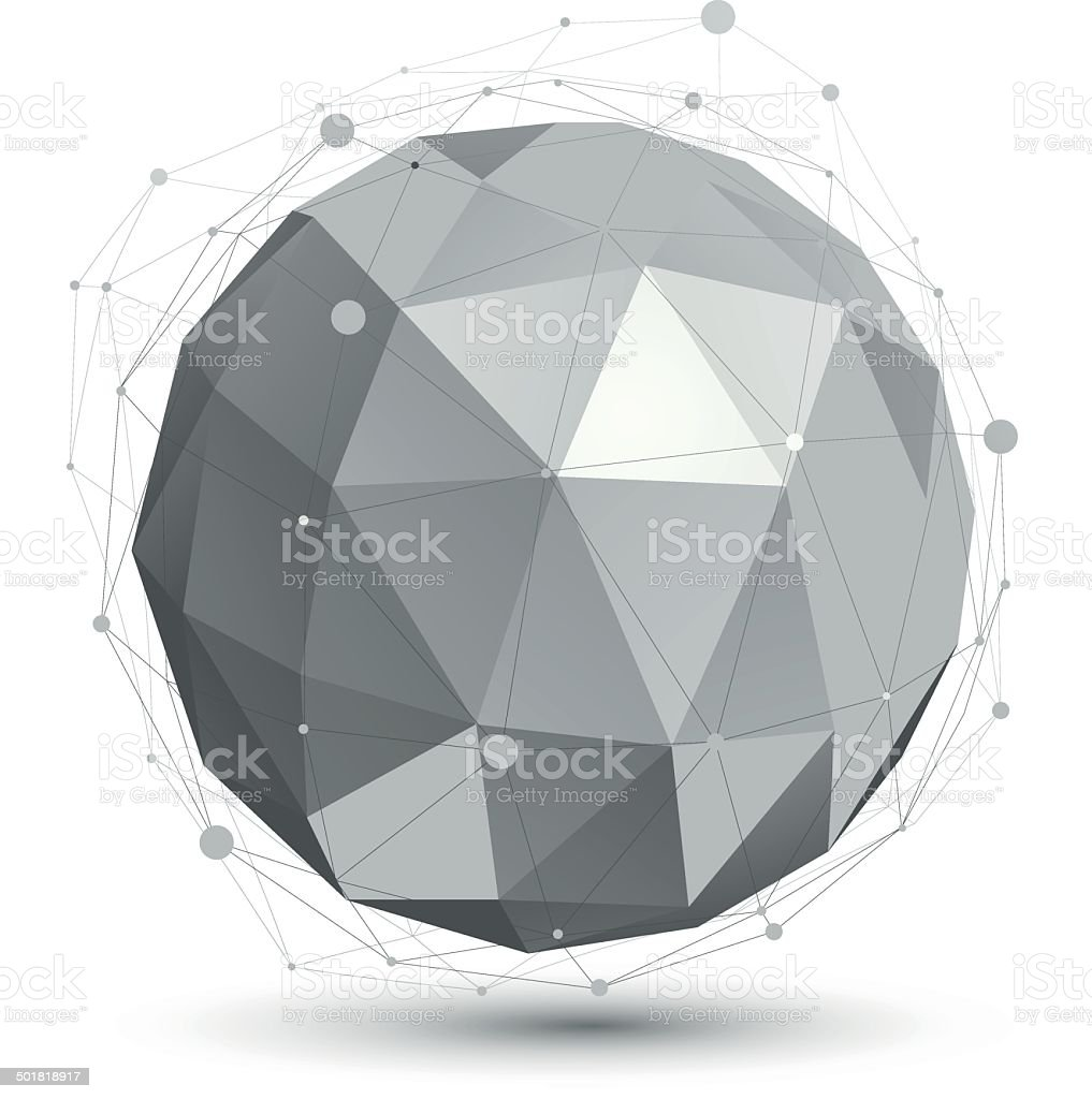 Spherical vector monochrome digital eps8 object, dimensional tec royalty-free stock vector art