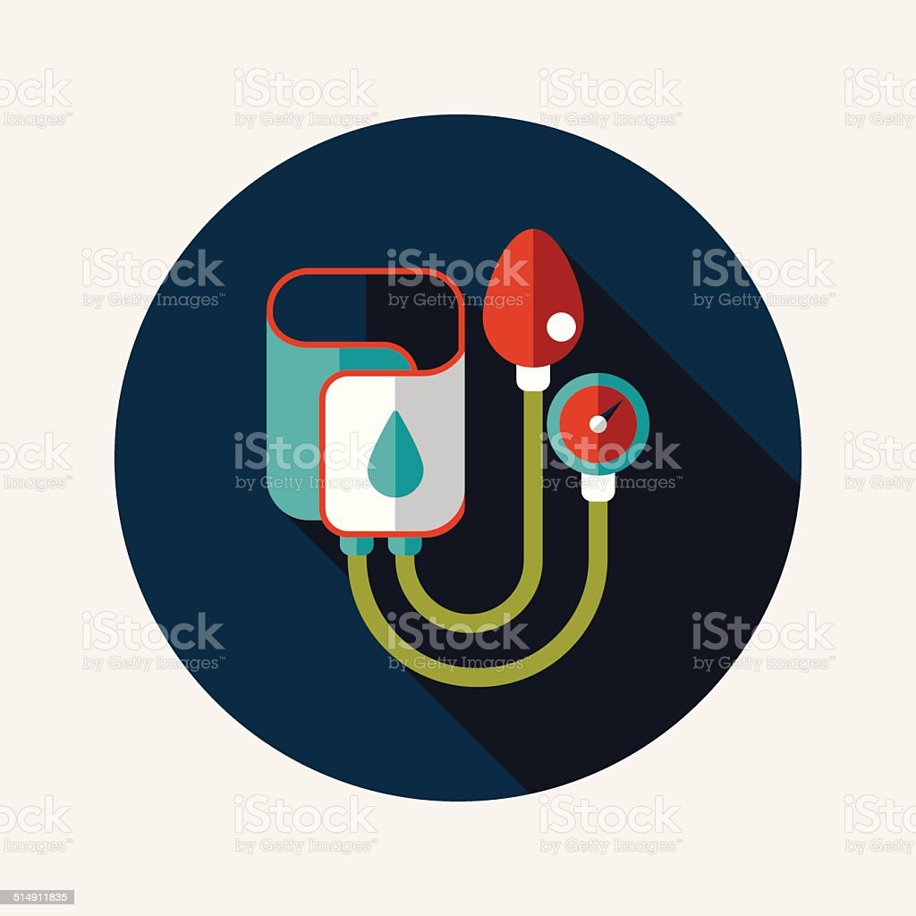 Sphygmomanometer flat icon with long shadow vector art illustration