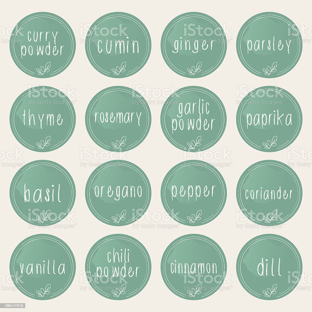 Spice and herb labels vector art illustration
