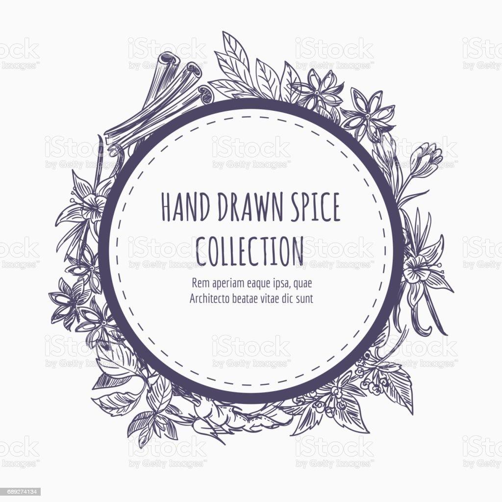 Spice collection round frame design vector art illustration