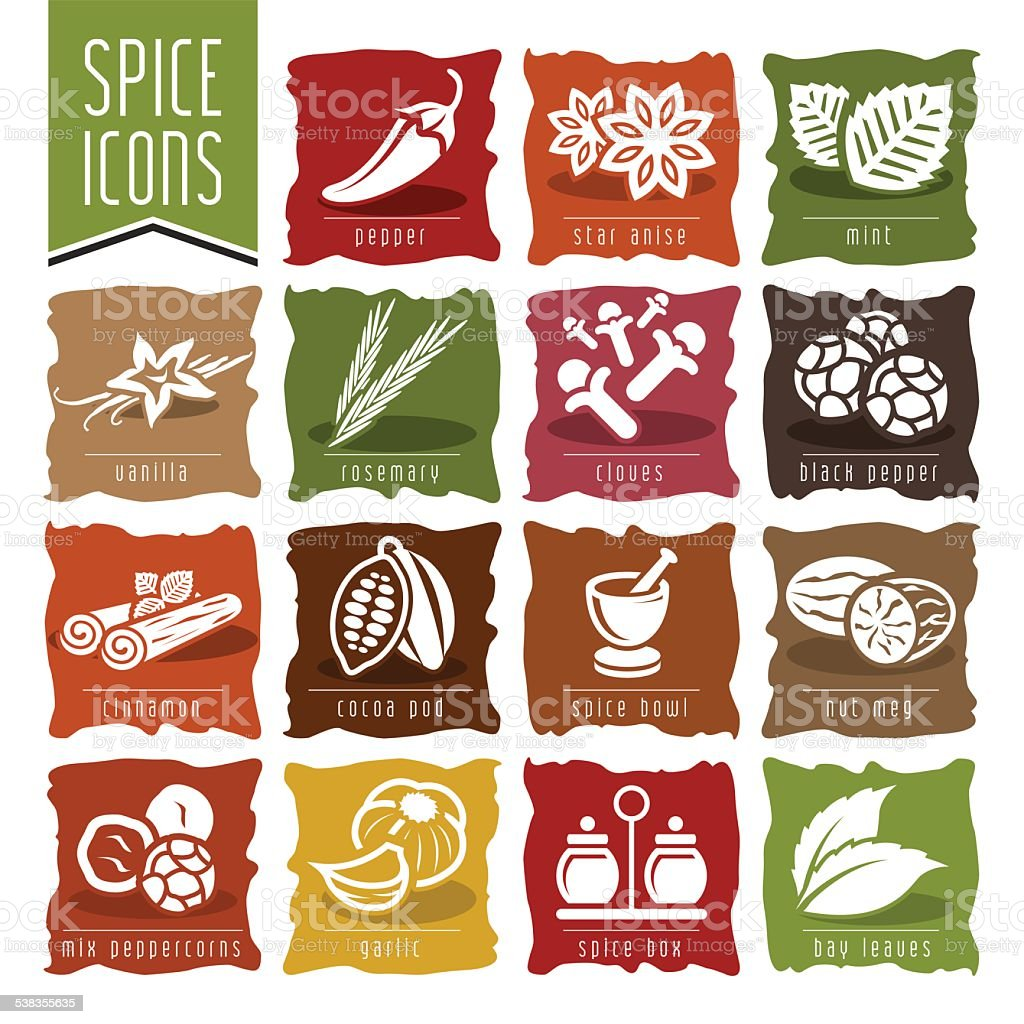 Spice icon set - 2 vector art illustration