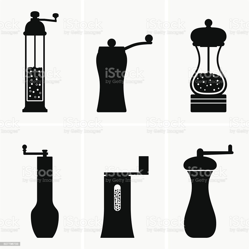 Spice mill vector art illustration