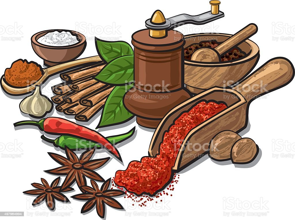 spices and flavors vector art illustration