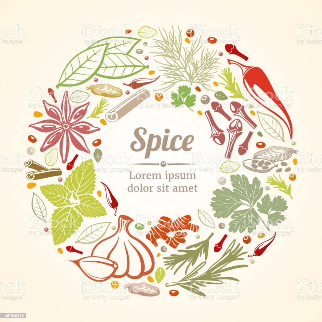 Spices and herbs icons in circle composition vector art illustration