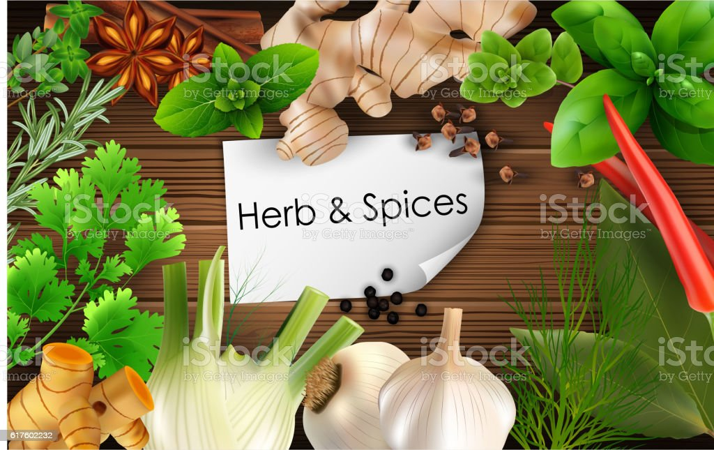 Spices and herbs on brown wooden background vector art illustration