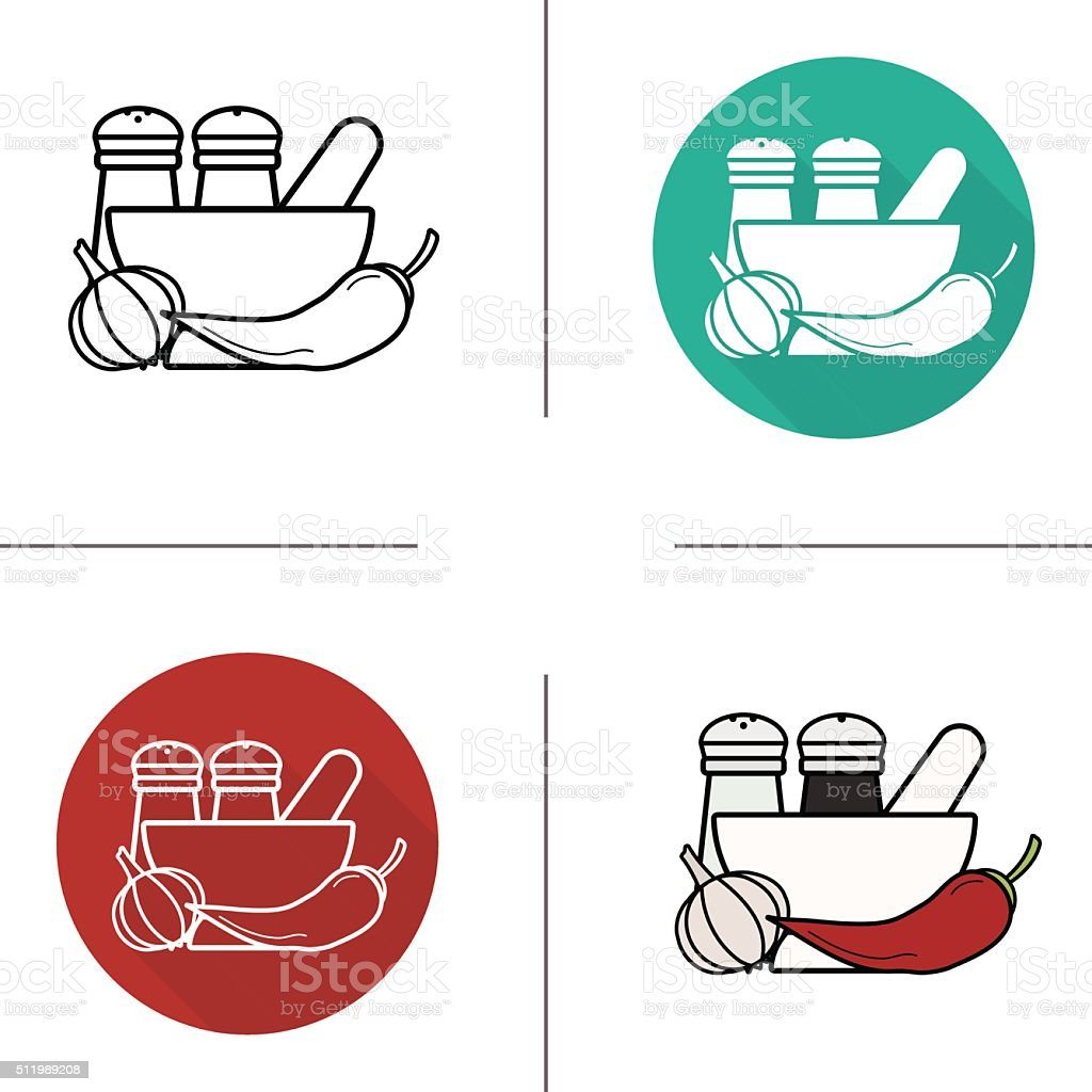 Spices icons vector art illustration