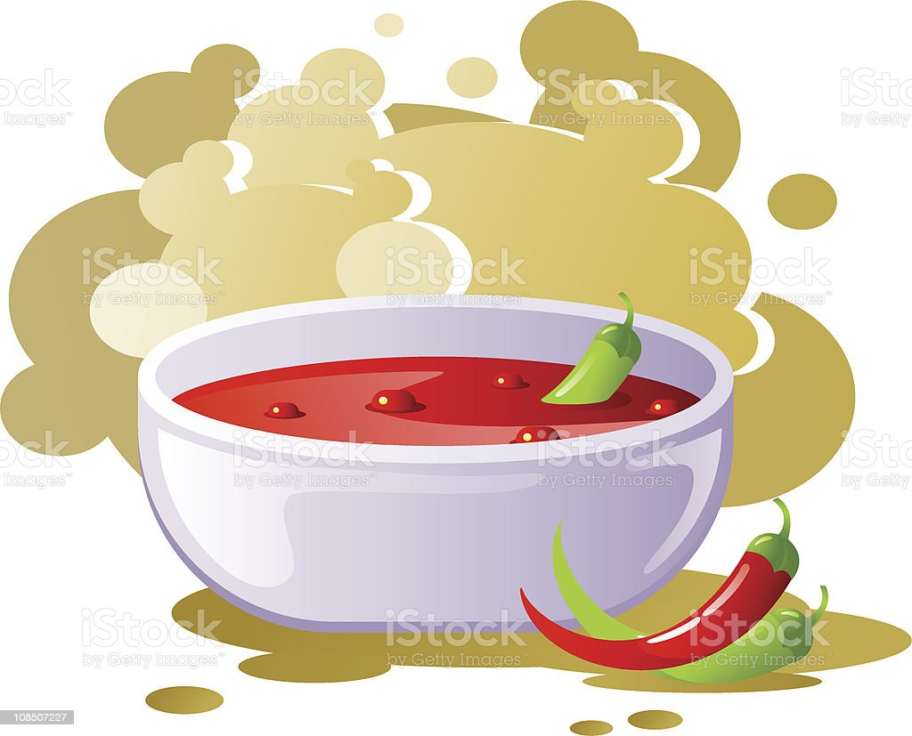 Spicy chili soup vector art illustration