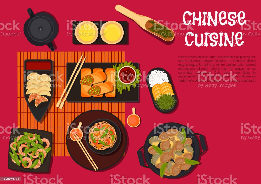 Spicy dinner with north chinese cuisine dishes vector art illustration