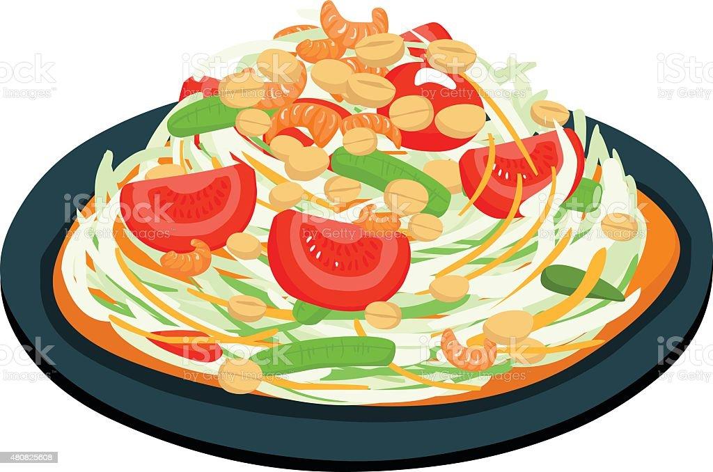 spicy popular papaya Thai salad vector vector art illustration