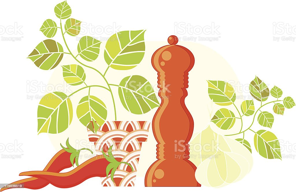Spicy still-life vector art illustration