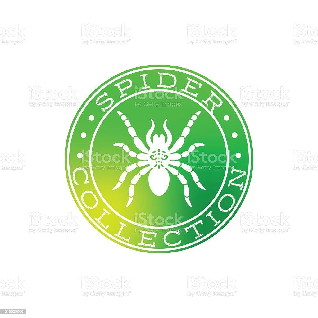 Spider collection white label design vector art illustration
