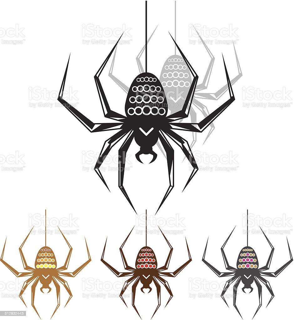 Spider color dots vector art illustration