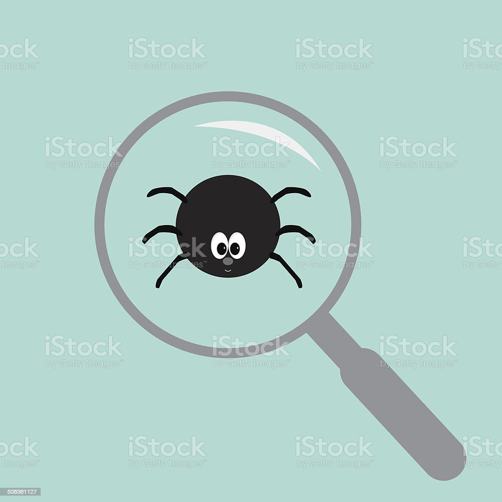 Spider insect under magnifier zoom lense. Flat design. royalty-free stock vector art